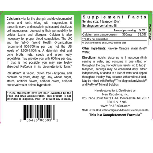 ReCalcia - Soluzione di calcio   Calcio liquido pico-ionico della Dr. Dean - 240ml