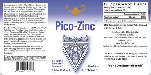 Pico-Zinc - Soluzione di zinco | Zinco liquido pico-ionico della Dr. Dean - 240ml